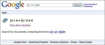 Google performing calculation