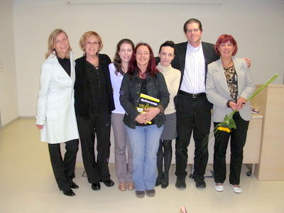 Mrs. Tovornik, Cecie Kraynak, Tatjana Novak, Maja Valic, Darja Budja, Joe Kraynak, Sanja Svajger (Journalist) at Book Presentation in Ljubljana, Slovenia, October 12, 2009