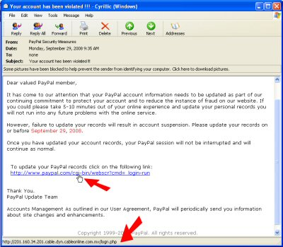 Phishing email scares you into handing over your account login information
